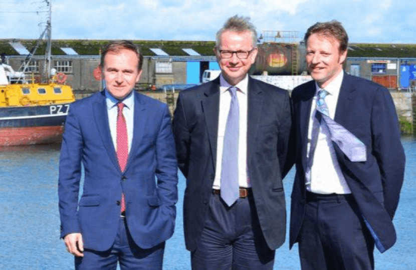 Derek Thomas MP with George Eustice, Fishing Minister and Michael Gove MP Secretary of State
